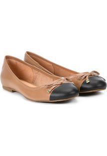Sapatilha Couro Shoestock Bico Redondo Laço Feminina - Feminino-Nude