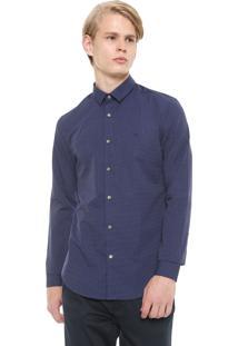 Camisa Calvin Klein Reta Estampada Azul-Marinho