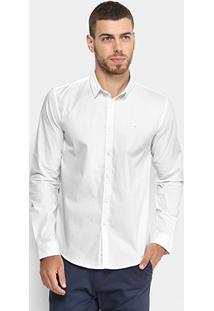 Camisa Calvin Klein Manga Longa Básica Slim Masculina - Masculino-Branco