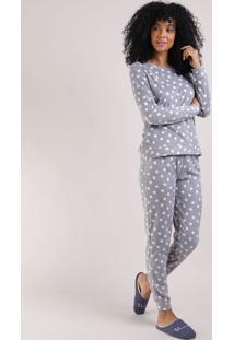 Pijama Feminino Em Fleece Blusa Longa Em Poá Decote Redondo Cinza Claro