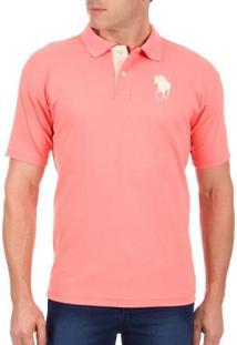 Camisa Polo Masculina Rosa Com Bordado - M
