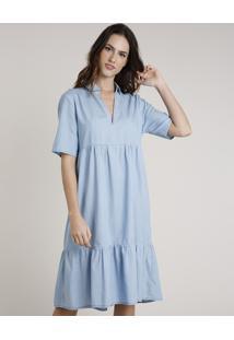 Vestido Feminino Mindset Midi Com Recortes Manga Curta Azul Claro