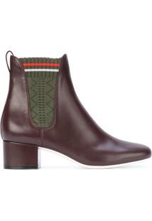 Fendi Ankle Boot Com Recorte De Tecido - Brown