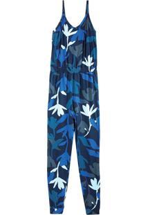 Macacão Azul Floral Em Malha Viscose