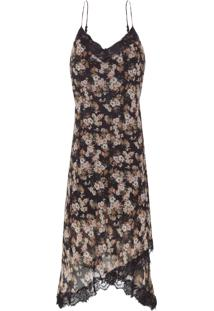 Vestido Midi Evening Rose - Preto