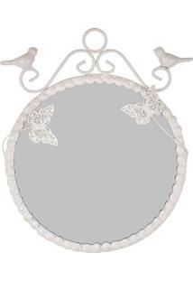Espelho Butterfly Branco De Metal 20Cm