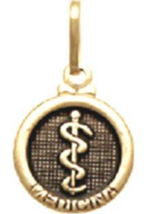 Pingente Prata Mil Redondo Profissão Medicina Ouro