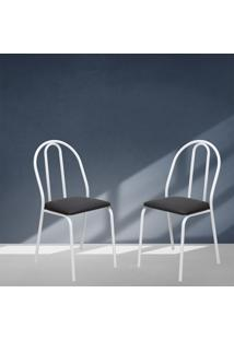 Cadeiras Acabamento Cromado Pintadas Brancas Lilies Móveis - Tricae