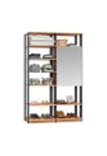 Guarda-Roupa Solteiro Modulado Clothes Ii Com Espelho 2 Pt Mel E Espresso