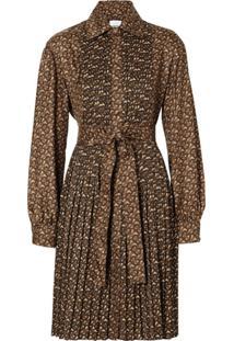 Burberry Pleated Monogram Shirt Dress - Marrom