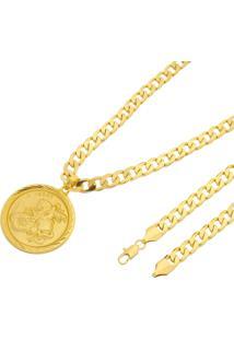 Pingente São Jorge + Corrente 8Mm Tudo Jóias Folheado A Ouro 18K Dourada
