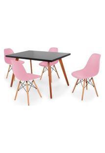 Conjunto Mesa De Jantar Gih 120X80Cm Preta Com 4 Cadeira Eames Eiffel - Rosa