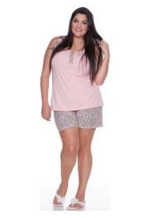 Pijama Regata Com Short Oncinha 100% Algodão E-Pijama (5324) Plus Size