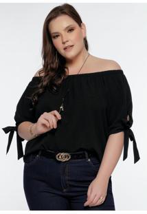 Blusa Ciganinha Plus Size Preta