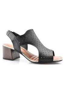 Sandália Open Boot Feminina Conforto Salto Bloco Dakota Z8141 Dakota Preto