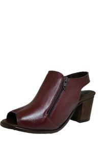 Sandália Comitiva Boots Open Boot Couro Capri Bordo