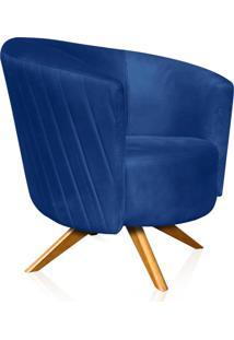Poltrona Decorativa Angel Tressê Suede Azul Royal Com Base Giratória Madeira - D'Rossi