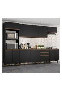 Cozinha Completa Madesa Reims 320002 Com Armário E Balcão - Preto Cor:Preto