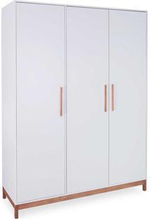 Guarda-Roupa Branco 3 Portas Roupeiro Branco Mdf E Madeira Maciça Design Moderno Moore - 154,6X53X206,5 Cm