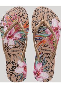 Chinelo Feminino Havaianas Slim Metalizado Estampado Animal Print Onça E Floral Rosê