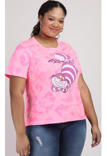 Blusa Feminina Plus Size Alice No Pais Das Maravilhas Tie Dye Curta Decote Redondo Pink