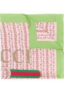 Gucci Cachecol De Seda Com Estampa De Logo 'Gucci' - Rosa