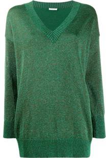 P.A.R.O.S.H. Suéter Com Glitter E Gola V - Verde