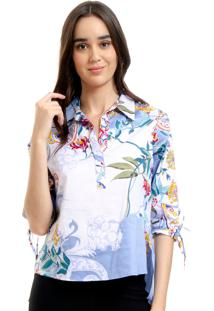 Camisa 101 Resort Wear Polo Tricoline Floral Azul