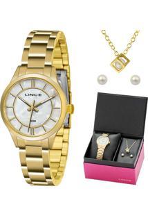 04abc139d94 E Clock. Relógio Analógico Kit Feminino Lince Dourado Lrgh072lku34b1kx