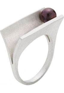 Anel Pravi Design Plates Prata Pérola Negra