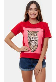 T-Shirt Onã§A Com Vermelho Multicolorido - Vermelho - Feminino - Dafiti