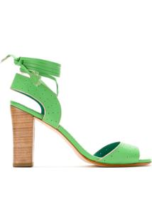 Sarah Chofakian Sandália De Couro Com Amarração - Verde