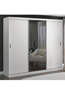 Guarda-Roupa Casal 3 Portas De Correr Com 1 Espelho 100% Mdf 774E1 Branco - Foscarini