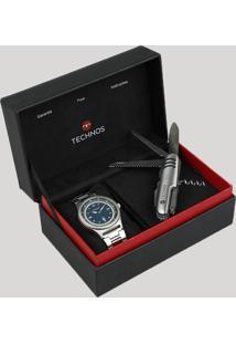 Kit De Relógio Analógico Technos Masculino + Canivete - 2115Mqx1A Prateado - Único
