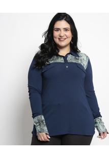 Camisa Estampa Animal Com Bolsos- Azul & Verdemelinde