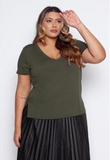 Blusa Almaria Plus Size Pianeta Básica Feminina - Feminino-Verde