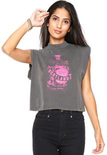 Blusa Cropped Lez A Lez Destilled Drinks Cinza
