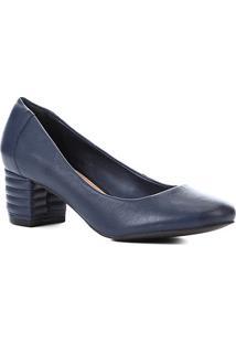 Scarpin Couro Shoestock Salto Bloco Matelassê - Feminino-Marinho