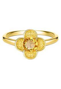Anel Life Jasmine Citrino Com Banho Ouro Amarelo