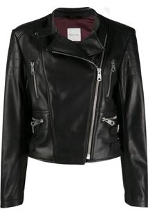 Paul Smith Off-Centre Zipped Biker Jacket - Preto