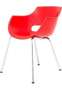 Cadeira Frida Base Fixa Cromada Cor Vermelho - 30363 Sun House