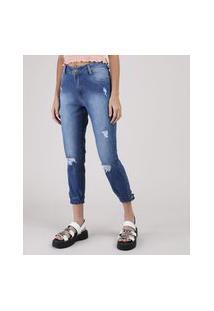 Calça Jeans Feminina Sawary Boyfriend Cropped Cintura Média Com Rasgos Azul Médio
