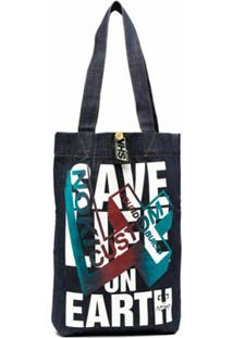 Katharine Hamnett London X Noki Printed Upcycled Denim Bag - Azul