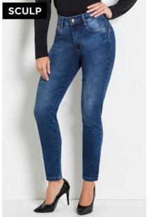 Calça Sculp Jeans Cigarrete Com Cinta E Bumbum