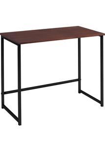 Escrivaninha Home 750X800X450 Aco Preto Tpo Mad Castanho Daf