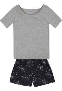 Pijama Feminino Em Tecido De Algodão Estampado