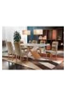 Conjunto De Mesa De Jantar Com Vidro E 6 Cadeiras Imperatriz Suede Off White E Chocolate