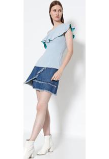 Blusa Com Babado- Azul Claro- Colccicolcci