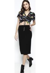 Blusa Cropped Floral- Preta & Verde- Tritontriton