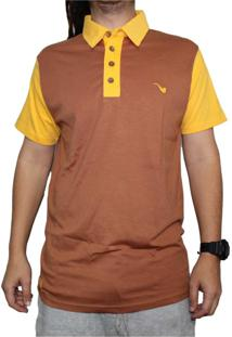 Camiseta Polo Blaze Supply Amarelo/Marrom